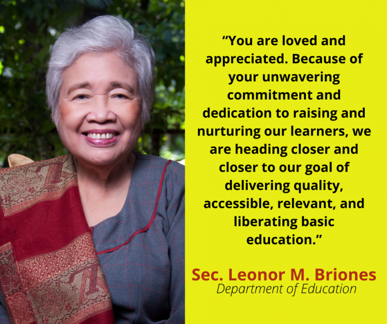 "Briones to teachers: ""You are loved"""